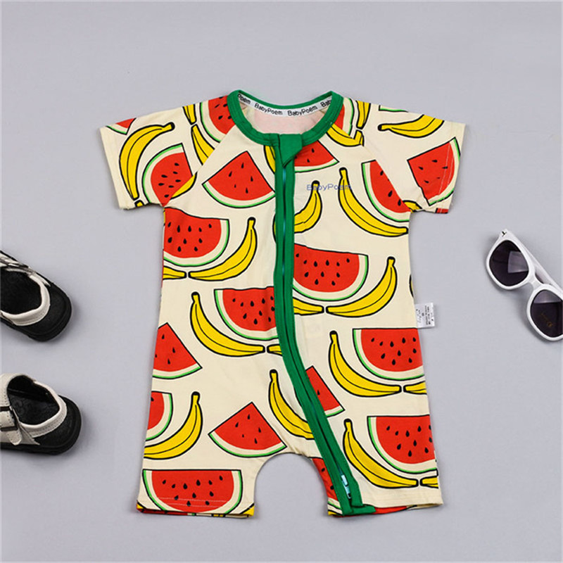 Newborn baby clothes boys girls rompers printed watermelon jumpsuits summer 2017 cottons newborn baby rompers infant clothing baby boys girls rompers short sleeve infant jumpsuits summer kids clothing sets cartoon newborn baby clothes for 0 12 month