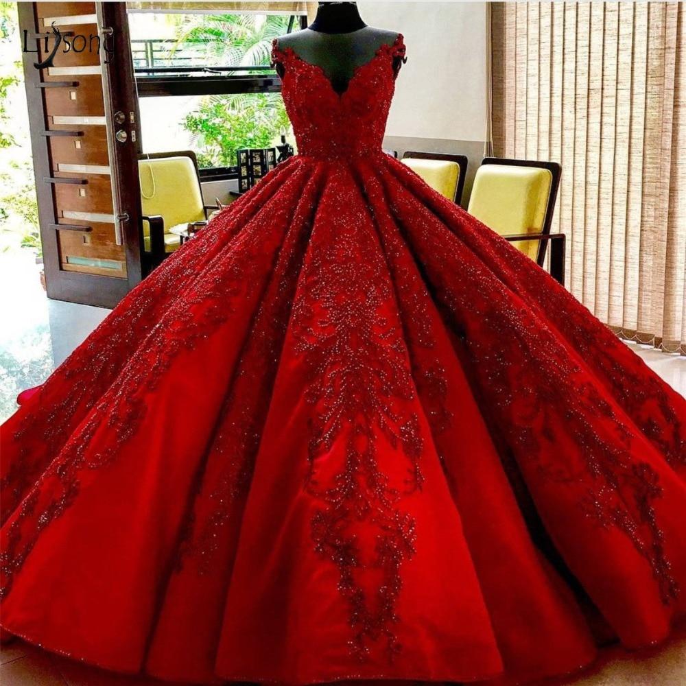 Роскошный красный вышитый бисером Свадебные платья 2019 Саудовская Арабский пышные бальные платья с кружевной аппликацией Свадебные платья