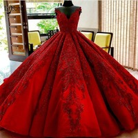 Luxury Red Beaded Wedding Dresses 2019 Saudi Arabic Puffy Ball Gowns Lace Appliques Bridal Gowns Royal Train Robe De Mariee