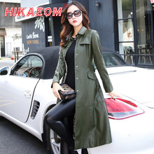5xl especially female leather autumn long faux jackets coat single breast turn down collar large swing women leather trench coat