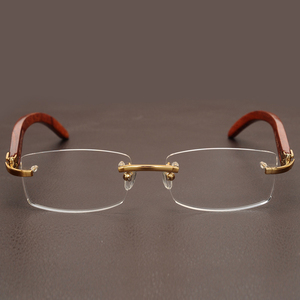 Image 5 - リムレス木製ゴールドメガネフレーム男性軽量光学眼鏡フレームブランドのデザイナーの処方近視眼鏡