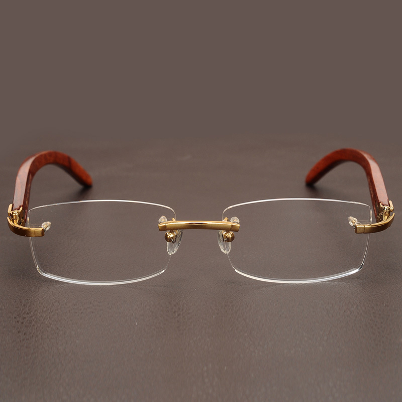 Image 5 - Rimless Wooden Gold Glasses Frame Men Light Weight Optical Rim Eyeglasses frames brand designer Prescription Myopia spectacles-in Men's Eyewear Frames from Apparel Accessories on AliExpress