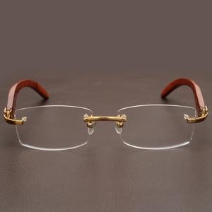 Image 5 - Rimless Wooden Gold Glasses Frame Men Light Weight Optical Rim Eyeglasses frames brand designer Prescription Myopia spectacles