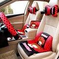 Vermelho com pontos pretos bonitos dos desenhos animados acessórios interiores do carro mocmoc three-dimensional bordado projeto tampas de assento suporta
