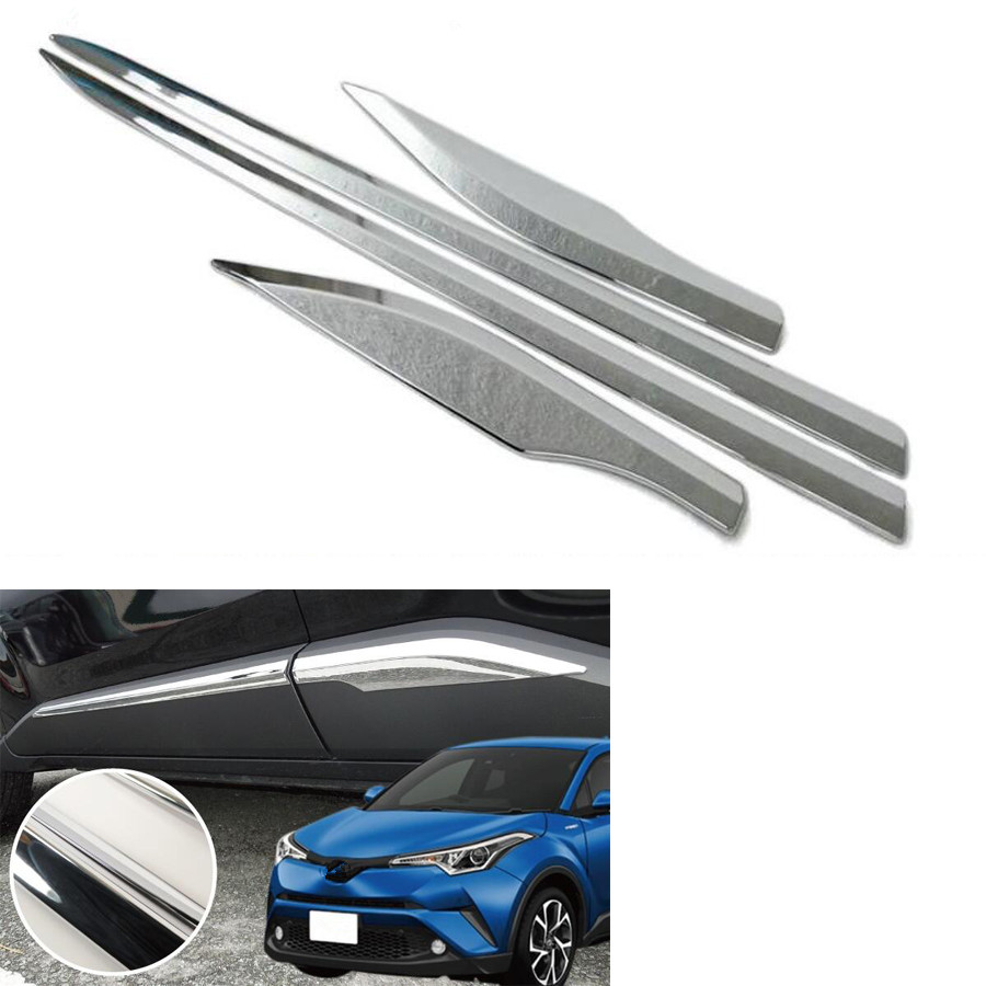 YAQUICKA Fit For Toyota CHR C-HR 2016 2017 2018 Car Exterior Body Door Side Edge Trim Cover Styling Accessories Mouldings for toyota rav4 rav 4 2014 2015 2016 car styling side door mouldings stainless steel side door body trim cover stickers