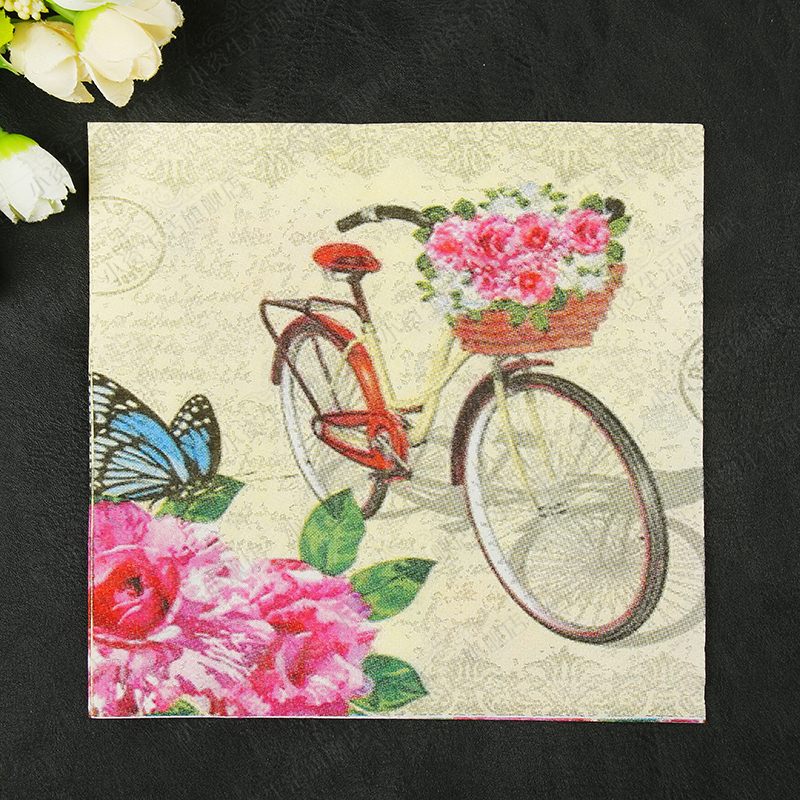 New Fresh Bicycle Flowers Butterfly Paper Napkins Cafe&Party Tissue Napkins Decoupage Decoration Paper 33cm*33cm 20pcs/pack/lot luxcase защитная пленка для lg q6 q6a суперпрозрачная