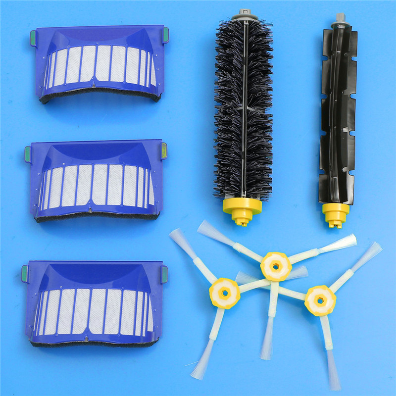 Replacement Brush Filter,Side Brush,Bristle and Flexible Beater Brush Combo for iRobot Roomba 600 610 620 625 630 650 660 bristle brush flexible beater brush fit for irobot roomba 500 600 700 series 550 650 660 760 770 780 790 vacuum cleaner parts