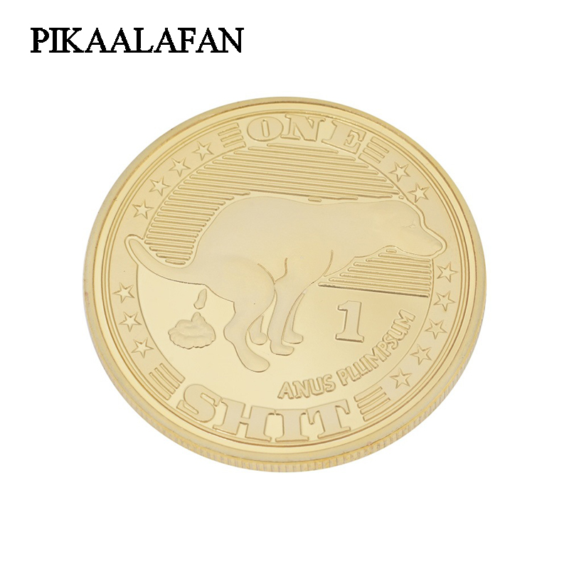 Pikaalafan 1 Piece One Shit Commemorative Gold Coins Dog Year Coins Lucky Gold Coins Beginner's Lucky Coin Collection