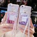 2016 bling de lujo botella de perfume quicksand líquido dinámico glitter arena caja del teléfono de silicona caso para cubrir iphone 7 7 plus