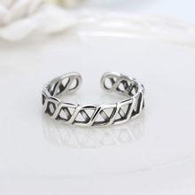 Twisted thai sliver aberto anel ajustável para mulher dedo anel acessórios de mão para menina presente feminino