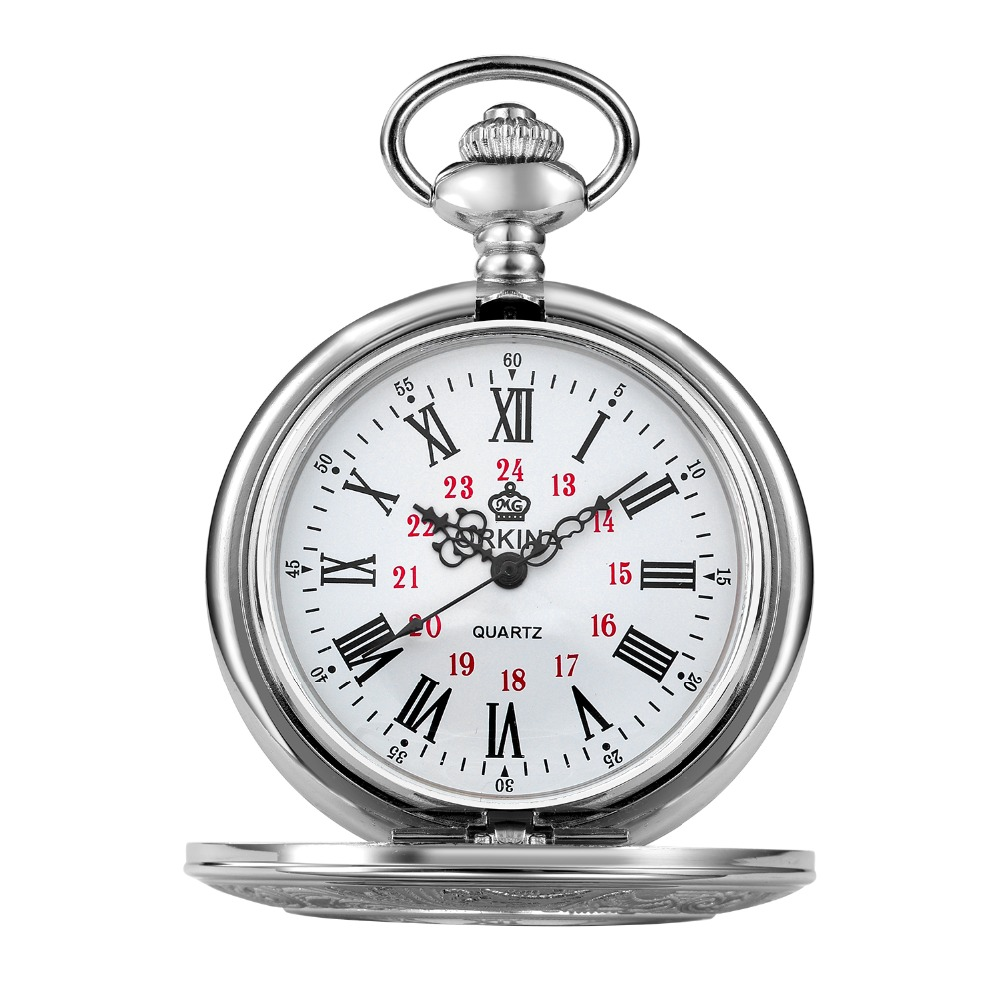 Antique Vintage Concise Mechanical Pocket Watch Roman Number White Dial Stainless Steel Case Pendant Chain Clock Fob WatchesAntique Vintage Concise Mechanical Pocket Watch Roman Number White Dial Stainless Steel Case Pendant Chain Clock Fob Watches