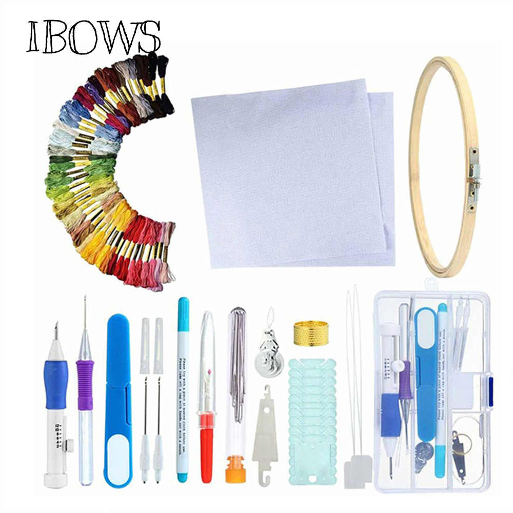 Magic Embroidery Pen Punch Needle Set Embroidery Patterns Punch Needle Kit Craft Tool Threads For DIY Sewing Tools with Case
