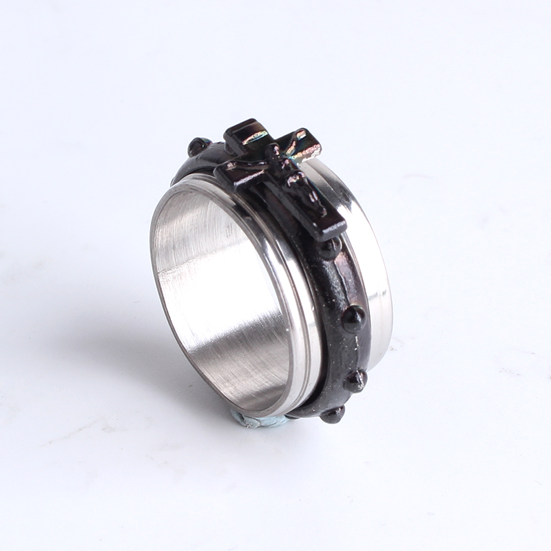 free shipping 10mm black Jesus cross rotation 316L Stainless Steel finger rings for women wholesale