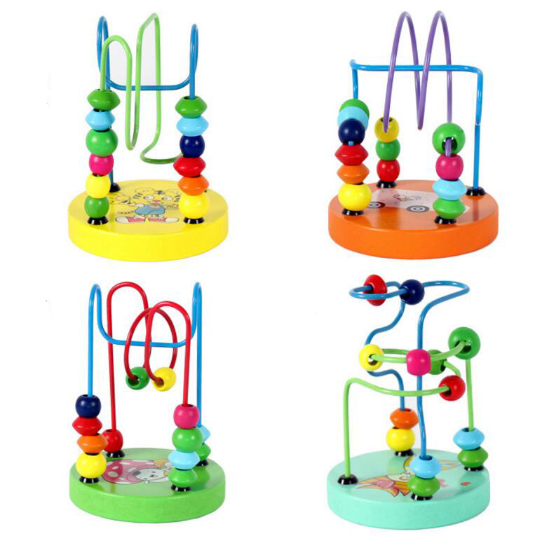 Colorful Wooden Mini Around Beads Maze Educational Toy For ...