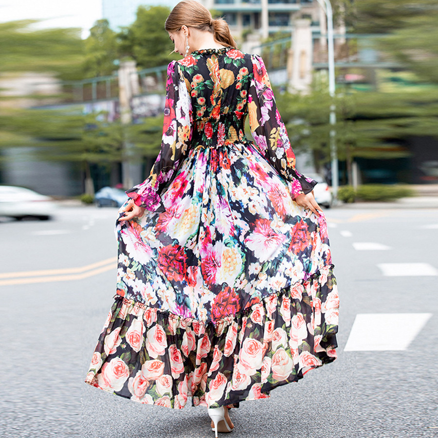 AELESEEN Bohemian Fashion Maxi Vestido 2019 Spring Summer Lantern Sleeve Floral Luxury Print Ruffles Slim Long Dress for Women-in Dresses from Women's Clothing    3