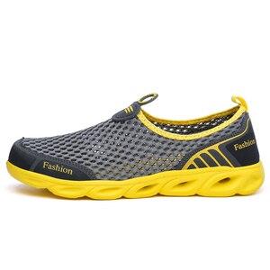 Image 2 - Männer Casual Schuhe 2019 Sommer Mode herren Schuhe Mode Atmungs Slip Auf Mesh Schuhe Weiche Komfortable Größe 45