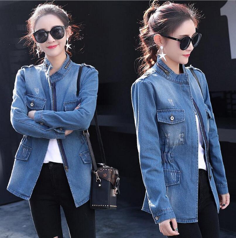 Automne Femme Hiver Y84 Chaquetas Plus Taille Jeans 5xl Manteau Mujer Femmes Tendance La Solide 2018 Slim Vestes Blue Harajuku Denim Veste rr7Hdwq