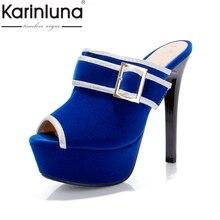 KARINLUNA 2017 Big Size 34-43 Peep Toe Thick Platform Women Mules Pumps Sexy Slip On Super High High Heels Party Shoes Woman