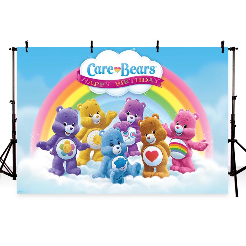 custom care bears birthday clouds rainbow photography backgrounds High quality Computer print party photo backdrop