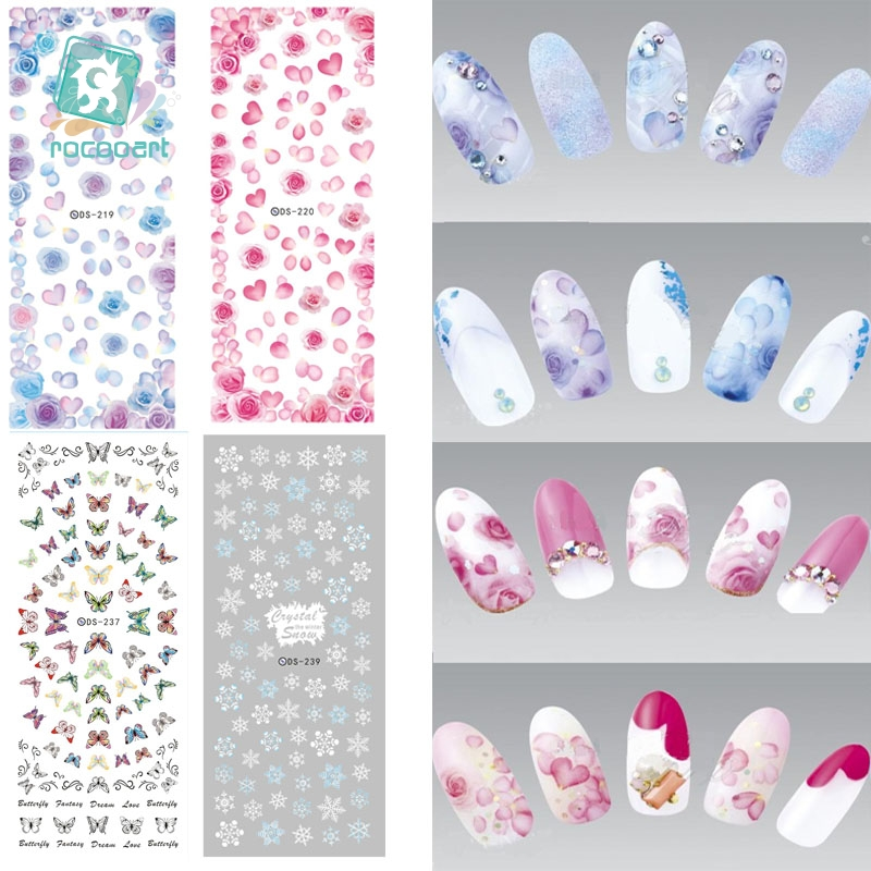 ds238 diy designer beauty water transfer nails art sticker pineapple rabbit harajuku nail wraps foil sticker taty stickers Rocooart DS211-240 Winter Water Transfer Nails Art Sticker White Snowflake harajuku Nail Wraps Foil Sticker manicure stickers