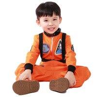 New Orange Kids Space Astronauts COS Costume Halloween Cosplay Children Disfraces Masquerade Hot Sale Kids Clothes