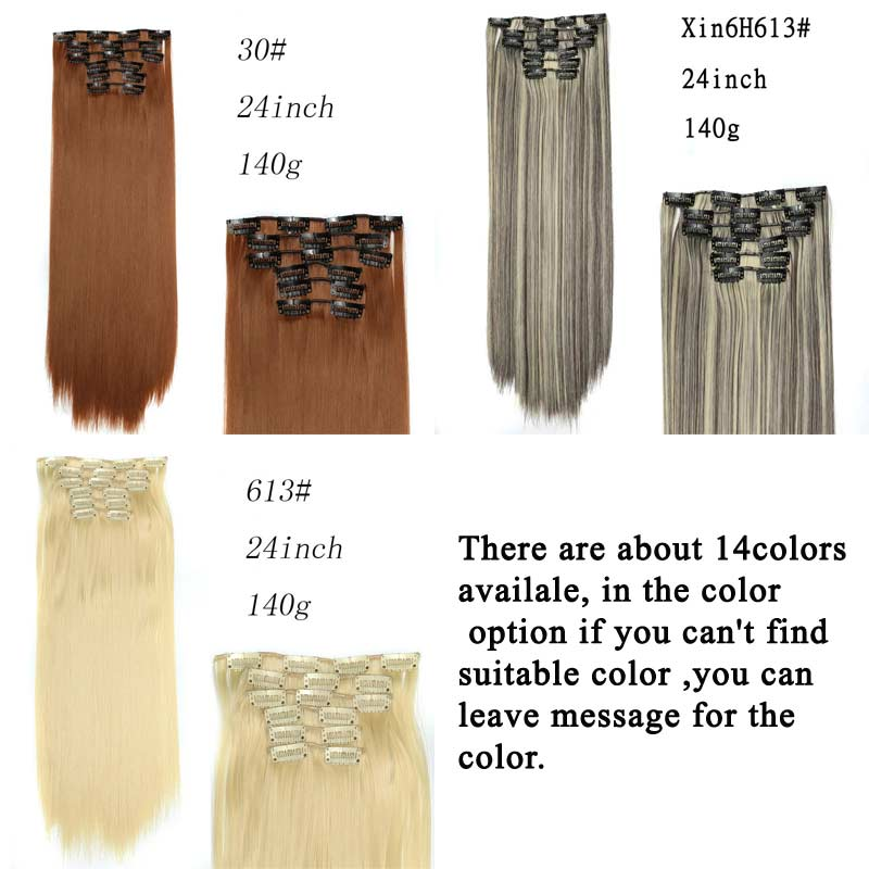 Synthetic Hair With Clips 16 Clip In Hair Extensions False Hair