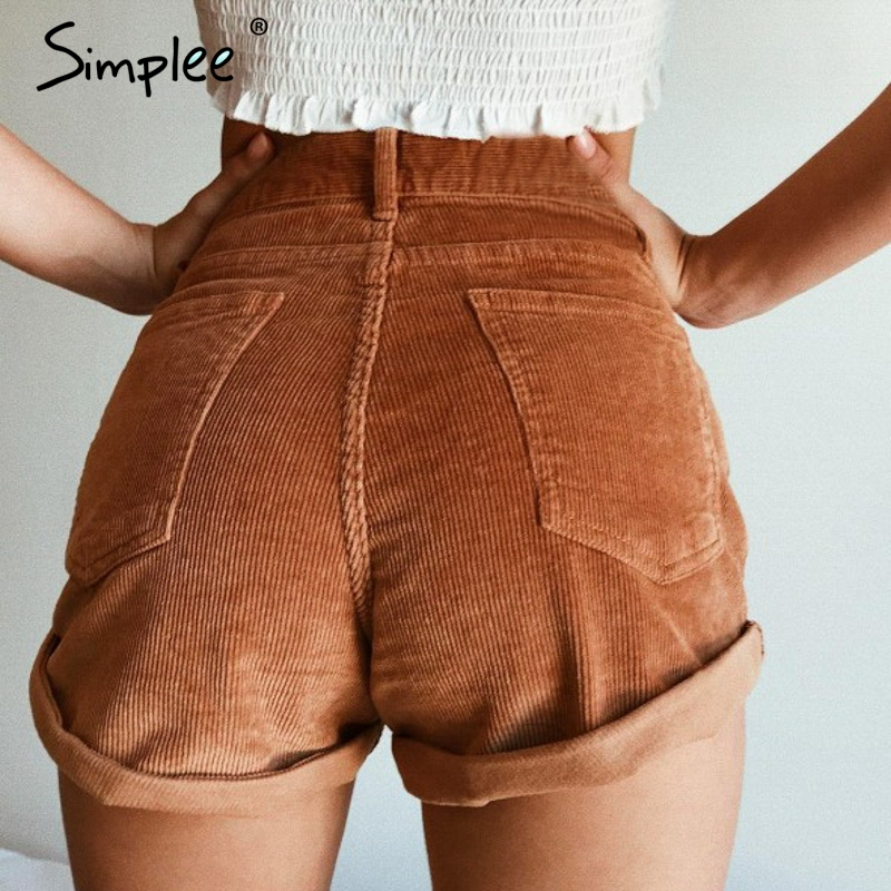 Simplee Elastic high waist corduroy shorts women Casual streetwear shorts female Loose summer zipper button short shorts 2019