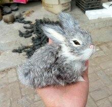 Simulation light gray rabbit toy polyethylene&furs rabbit model funny gift about 14*8*10CM