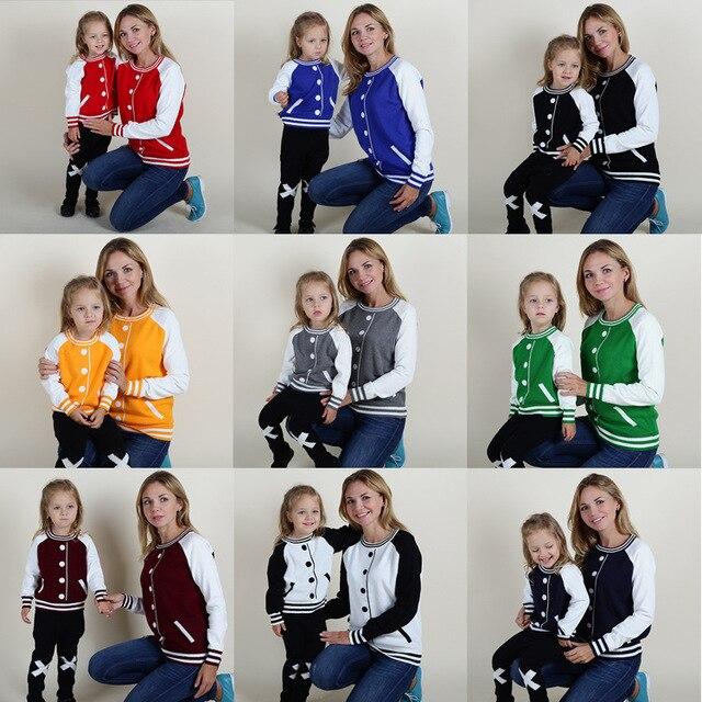 Осенью и зимой INS взрыва и ветер пуловеры кардиган бейсбол ложные дети дети мать дочь