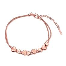 Chillax Rose Gold Color Chain Bracelets Hearts Bangle Jewelry Accessories Women