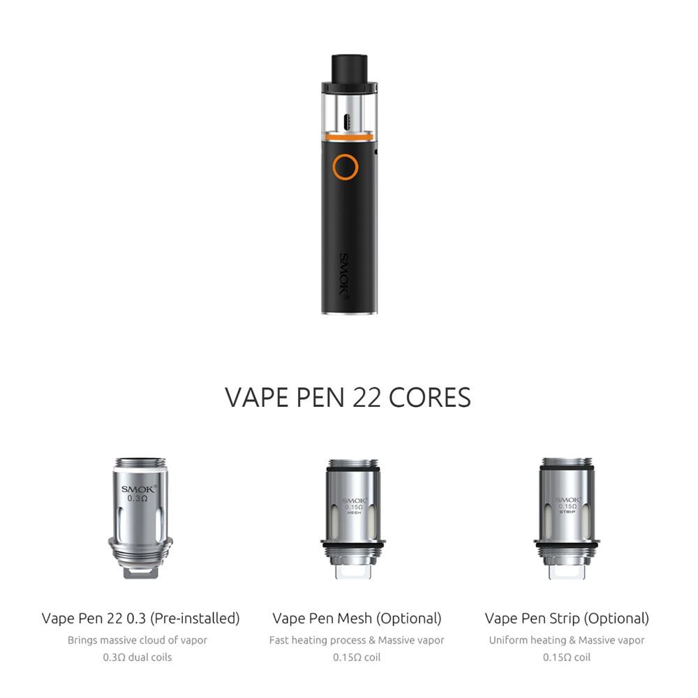 SMOK Vape Pen 22 Kit Vape Pen 22 Tank 0.3ohm Dual Core with Built-in 1650mah Battery with LED Indicator electronic cigarette