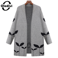 Oladivi 2016 Autumn Winter Fashion Women Long Sleeve Loose Knitting Cardigan Sweater Female Knitted Top Lady