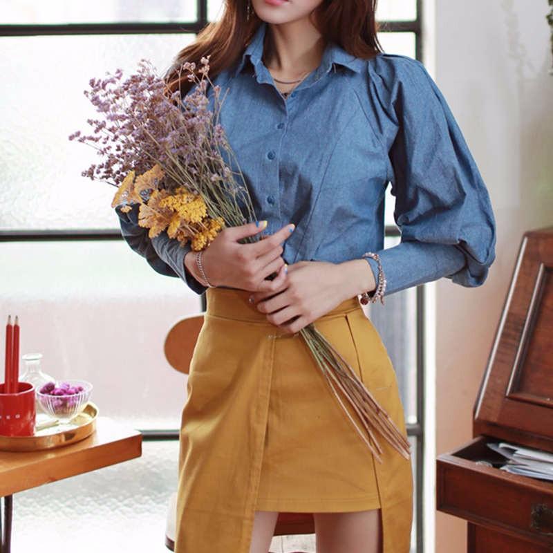 blue Lantern Sleeve fall blouse 2
