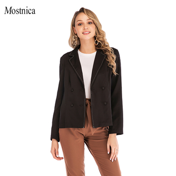 Mostnica Breasted Notched Office Ladies Blazer Long Sleeve Loose OL Business Suit Coat Jacket Formal Women Blazers Female 2019 simple casual texture fabric retro decorative buttons commuter loose suit jacket 2019 notched double breasted women jacket coat