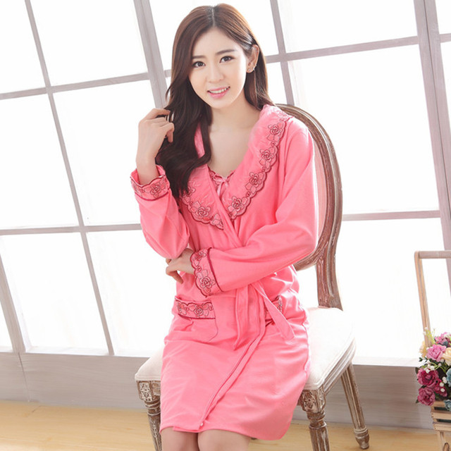 Women Robe 2016 Jacquard Robe Two Piece Pijama Mujer High Grade Lace Cotton Gown Sets Leisurewear Condole Belt Bathrobe Pajamas