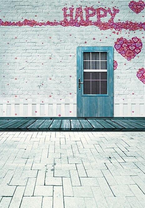 5Feet*6.5Feet Background Happy Hearts Love Photography Backdropsthick Cloth Photography Backdrop 3301 Lk  Valentine'S Day 8x10ft valentine s day photography pink love heart shape adult portrait backdrop d 7324