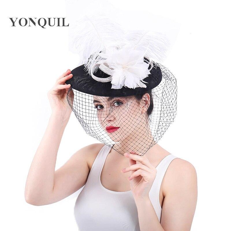 Fashion Wedding Hats And Fascinators For Bride 30CM feather Floral Veil Bowler Hat Women Banquet beauty black Party Headwear