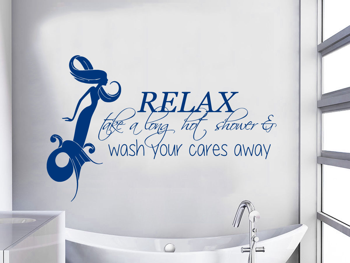 Hwhd Mermaid Wall Decal Quote Relax Shower Vinyl Stickers Bathroom Decor Os1513 Free Shipping