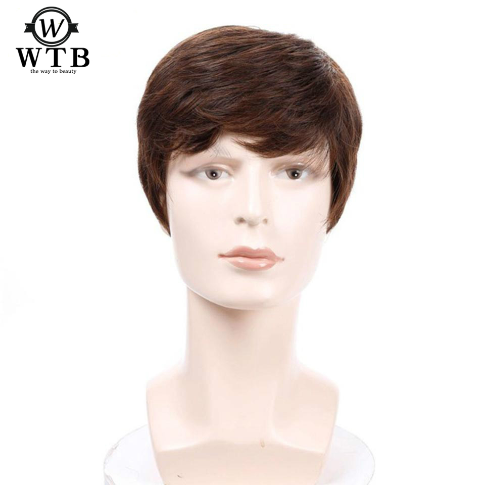 WTB Short Straight Wig For Men Natural Hair Synthetic Men's Wigs Heat Resistant Fake Hair Black Light/ Dark Brown