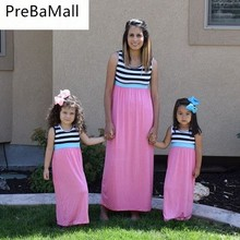 2019 summer striped family matching clothes mother daughter dresses mum sister baby girl outfits C51