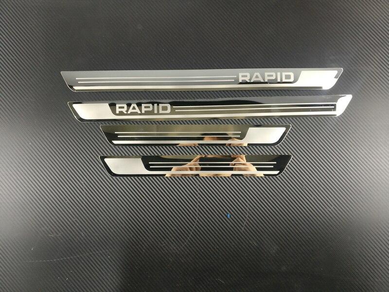Авто-Стайлинг Нержавеющая сталь Боковая дверь Накладка порога подходит автомобильные аксессуары для Skoda Rapid 2012 2013
