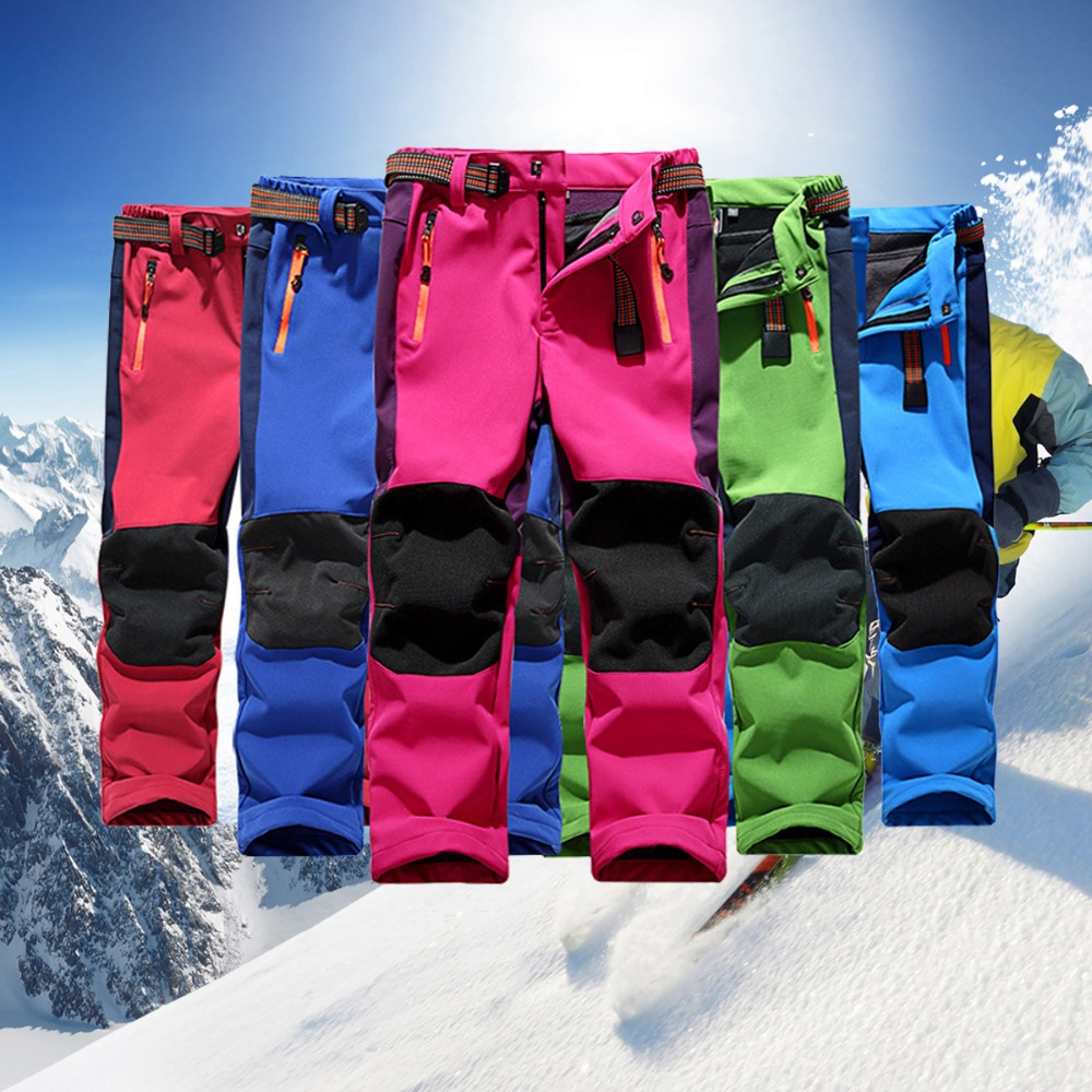Winter Children Outdoor Snowboard Pants Windproof Fleece Winter Snow Girls Boys Camping Hiking Pants Teenager Print Warm Pants in Pants from Mother Kids