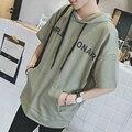Mulheres novas Dos Homens Com Capuz Estudante T-shirt de Manga Curta Carta de Impressão Soltas T-shirt Camisas Rua Hiphop Masculino Camiseta