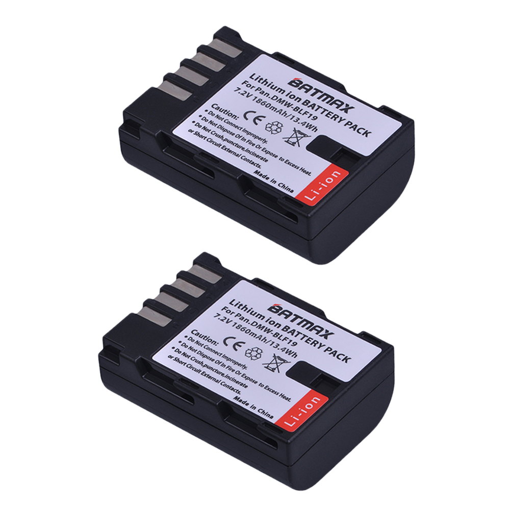 2Pcs 1860mAh DMW-BLF19, DMW-BLF19e, DMW-BLF19PP Battery For Panasonic Lumix DC-GH5, DMC-GH3, DMC-GH3K, GH4, GH4K Digital Camera