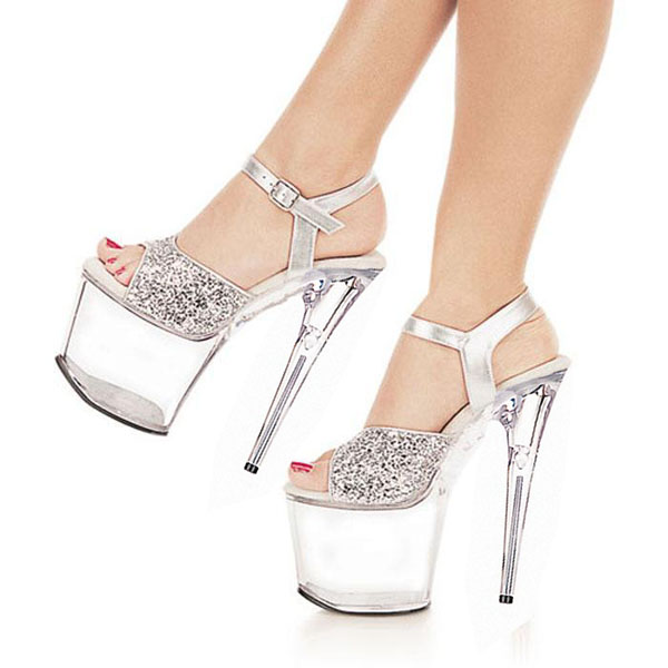 20CM Platform Crystal shoes 8 inch high heel shoes sexy women Exotic Dancer  shoes silver party Dance Shoes-in Dance shoes from Sports   Entertainment  on ... 5985b748afc9