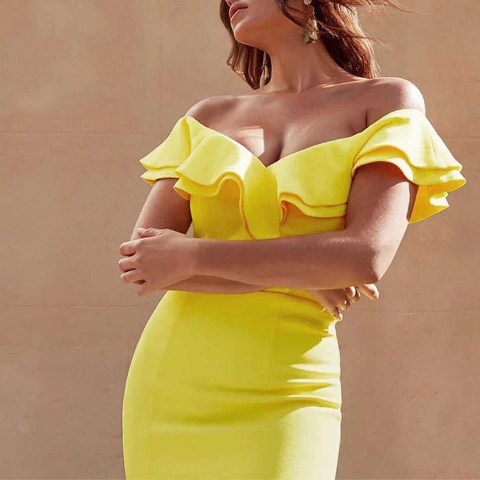 Adyce 2019 New Summer Sexy Off Shoulder Women Bandage Dress Vestidos Ruffles Slash Neck Club Dress Celebrity Party Runway Dress