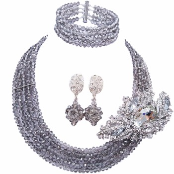 Fashion Grey Gray African Jewelry Set Nigerian Wedding Bridal Jewelry Sets for Women Girls Bridesmaids Party Gifts 5L-DS029