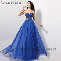 Elegant Royal Blue Long Evening Dresses 2016 Hot Sale Sweetheart Crystal Beads Chiffon Party Gowns Vestidos