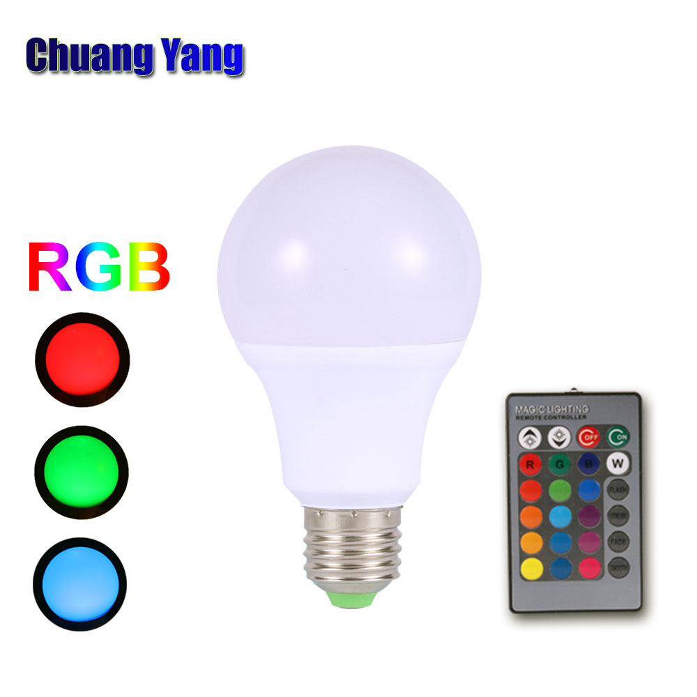 AC85-265V dimmable E27 LED Bulb Light 3W 5W 7W RGB LED Smart Bulb with Remote Control ...