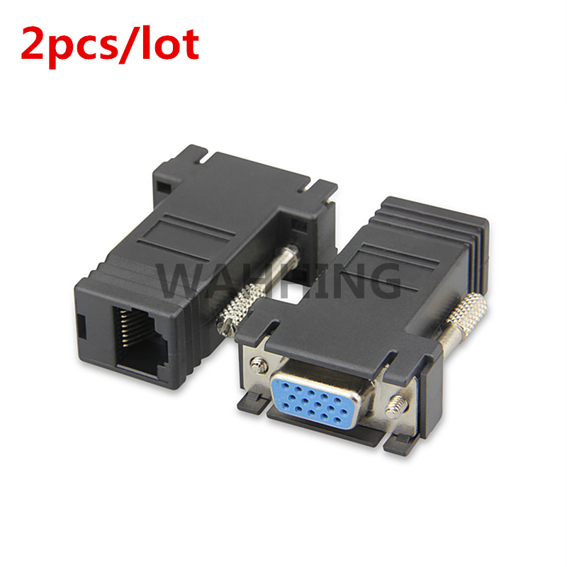 2pcs/lot RJ45 Network Cable Adapter VGA Female To RJ45 Female Adapter LAN CAT5 CAT 5e CAT6 VGA Cable Extender Adapter HY1034*2